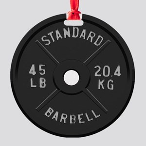 clock barbell45lb2 Round Ornament